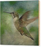 Hummingbird In Flight II Wood Print by Sandy Keeton