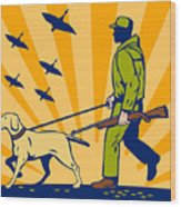 Hunting Gun Dog Wood Print by Aloysius Patrimonio
