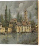 Il Borgo Sul Fiume Wood Print by Guido Borelli
