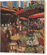 Il Mercato Di Quartiere Wood Print by Guido Borelli