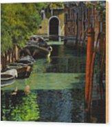 il palo rosso a Venezia Wood Print by Guido Borelli