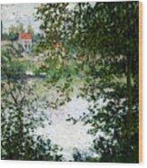 Ile De La Grande Jatte Through The Trees Wood Print by Claude Monet