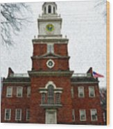 Independence Hall In Philadelphia Wood Print by Bill Cannon