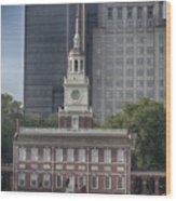 Independence Hall Wood Print by Tom Gari Gallery-Three-Photography