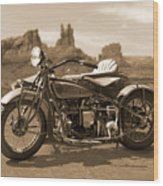 Indian 4 Sidecar Wood Print by Mike McGlothlen