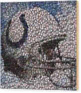 Indianapolis Colts Bottle Cap Mosaic Wood Print by Paul Van Scott