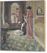 Interior Wood Print by Felix Edouard Vallotton