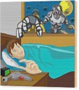 Invading Alien Robot Wood Print by Aloysius Patrimonio