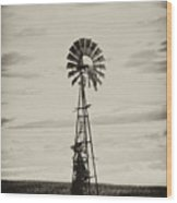 Iowa Windmill In A Corn Field Wood Print by Wilma  Birdwell