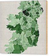 Ireland Watercolor Map Wood Print by Michael Tompsett