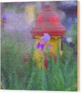 Iris And Fire Plug Wood Print by David Lane
