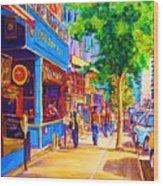 Irish Pub On Crescent Street Wood Print by Carole Spandau