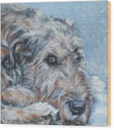 Irish Wolfhound Resting Wood Print by Lee Ann Shepard