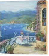 Italian Lunch On The Terrace Wood Print by Marilyn Dunlap
