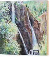 Jeeping At Bridal Falls  Wood Print by Linda Shackelford