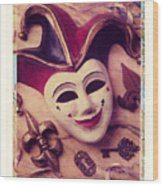 Jester Mask Wood Print by Garry Gay