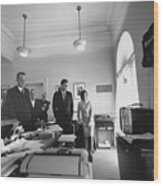 John Kennedy And Others Watching Wood Print by Everett