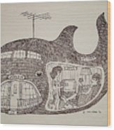 Jonah In His Whale Home. Wood Print by Fred Jinkins