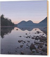 Jordan Pond Reflections - Acadia Wood Print by Stephen  Vecchiotti