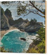 Julia Pfeiffer State Park Falls Wood Print by Connie Cooper-Edwards