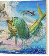 Jumping Mahi Mahi And Flyingfish Wood Print by Terry Fox