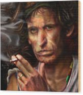 Keith Richards1-burning Lights 4 Wood Print by Reggie Duffie