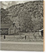 Kindred Barns Sepia Wood Print by Steve Harrington