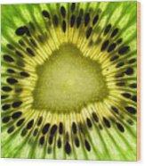 Kiwi Up Close Wood Print by June Marie Sobrito