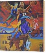 Kobe Defeating The Demons Wood Print by Luis Antonio Vargas