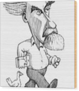 Konrad Lorenz, Caricature Wood Print by Gary Brown