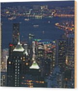 Kowloon Skyline And Victoria Harbour At Dusk Wood Print by Sami Sarkis