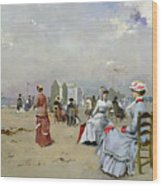 La Plage De Trouville Wood Print by Paul Rossert