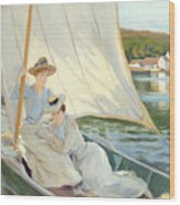 Ladies In A Sailing Boat  Wood Print by Jules Cayron