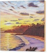 Laguna Village Sunset Wood Print by Steve Simon