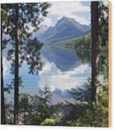 Lake Mcdlonald Through The Trees Glacier National Park Wood Print by Marty Koch