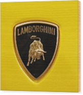 Lamborghini Logo Wood Print by Sydney Alvares