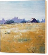 Landscape With Barn Wood Print by RB McGrath