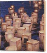 Lantern Floating Ceremony Wood Print by Brandon Tabiolo - Printscapes