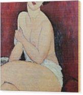 Large Seated Nude Wood Print by Amedeo Modigliani