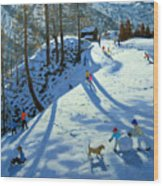 Large Snowball Zermatt Wood Print by Andrew Macara