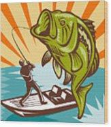 Largemouth Bass Fish And Fly Fisherman Wood Print by Aloysius Patrimonio
