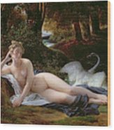 Leda And The Swan Wood Print by Francois Edouard Picot