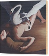 Leda And The Swan Wood Print by James LeGros