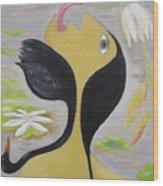 Leda And The Swan Wood Print by Sue Wright