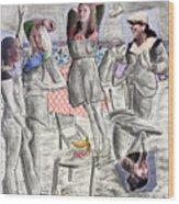 Les Demoiselles Of Santa Cruz V8 Wood Print by Susan Cafarelli Burke