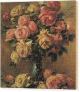 Les Roses Dans Un Vase Wood Print by Pierre-Auguste Renoir
