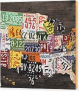 License Plate Map Of The United States - Warm Colors / Black Edition Wood Print by Design Turnpike