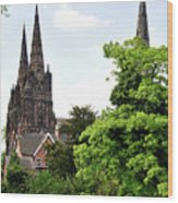 Lichfield Cathedral From Minster Pool Wood Print by Rod Johnson