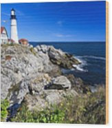 Lighthouse At Cape Elizabeth Wood Print by George Oze