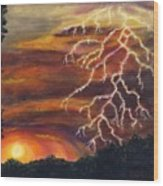Lightning At Sunset Wood Print by Tanna Lee M Wells